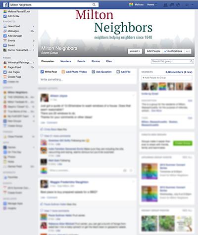 Screenshot of Milton Neighbors Facebook group