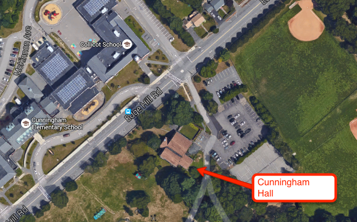 Cunningham Hall is across from the Collicot School at 75 Edge Hill Road