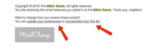 Milton Scene Daily email