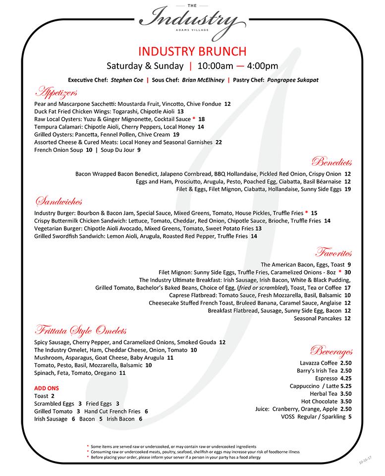The Industry brunch menu