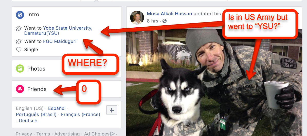 military scam on facebook