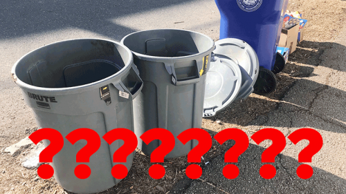 Milton residents bewildered by neatly arranged trash barrels