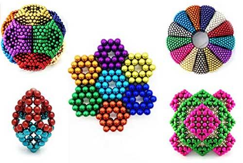 sunsoy Rainbow Color Upgraded 252 Pieces Magnetic Sculpture, Magnet Building Blocks Construction Set Puzzle Stacking Game Sculpture Desk Toys, Magnet Fidget Toys