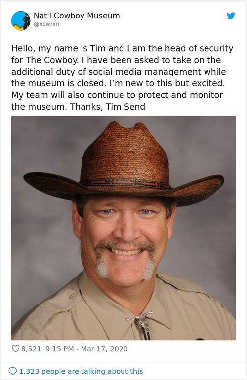 Cowboy Museum Puts Their Head Of Security In Charge Of Their Twitter, And His Tweets Are Hilariously Wholesome