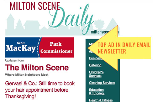 The Milton Scene Daily newsletter political ad