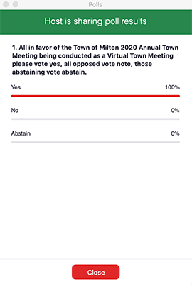 Milton virtual town meeting poll